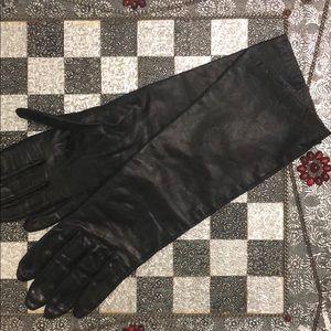 vintage slim fit long leather gloves